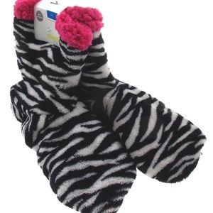 Zebra Print Pink Trim Slipper Boo